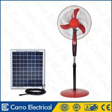 AC/DC double duty 12v solar rechargeable electric stand fan/parts electric stand fan/oem brand electric stand fan with panel