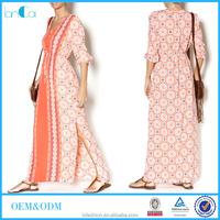Bright orange bohemian pattern long kaftan for women printed hippie maxi dresses