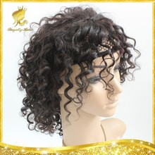 High Density Wigs Brazilian Natural Color Curl Virgin Human Hair Full Lace Wig WIth Natural Hairline