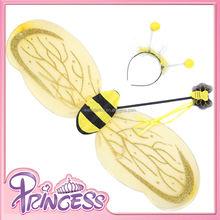 Hw-1002 2015 nuovo giallo colore glitter ali delle api con archetto e bacchetta per i bambini ali di fata per le ragazze