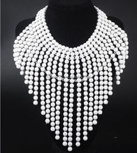 2014 total 6 color available Exaggerated multilayer white tassel high collar beaded necklace