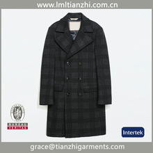 Hot Selling Brand Name New Design Grid Warm Winter Fashion Men's Wool Long Coat