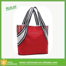 Ladies clutch bag 2015 Ladies Striped canvas Tote bag Office bag with dual flat handles
