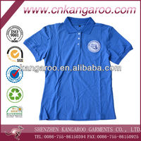 Combeded cotton pique navy blue short sleeves ladies polo tshirts with private embroidery greek logos
