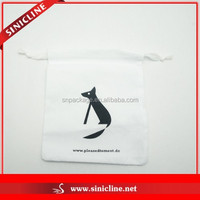 Sinicline White Cotton Dust Bag With Printed Logo