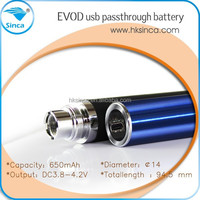 top quality Recharge EVOD battery with Pass-through Best ego passthrough