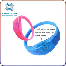 2015 Promotion Customized Colorful LED Light Up Bracelet For Party And Club, Logo Printed LED Light Up Bracelet For Brand Advert