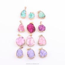 Multicolor druzy pendant, fashion necklace and earring pendant jewelry charm, hot delicate druzy quartz stone pendant
