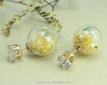 Colorful AAA CZ Double-sided transparent glass ball earrings for new season