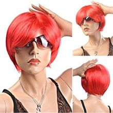 New Fashion Disposable Short Straight Hair Wig Football Fans Wig Red Cosplay Wigs