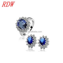 RDW Jewelry Set Custome Jewelry Crystal Earring Ring Set Vintage Women Crystal Earring Ring Set