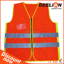 High Visibility Cheap China Wholesale Clothing Orange/Red Sleeveless Security Warning Vest Car First Aid Safety Vest