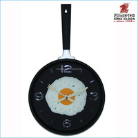 Kitchen Pan Wall Clock with Fried Egg Face Plastic Clock Movable Handle Decoration Black Color Kitchen Clock Wall
