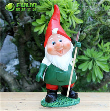"""Resin Gnome Statue """" Gnome Working In the Yard"""" 12.9*10.5*27.8cm"""