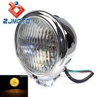 "Custom 4.5"" Chrome with Clear Lens H4 Bulb Classic Designs Round Head Light Aluminum Motorcycle Headlight For Chopper Bobber"