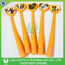 Lovely Designed Light Orange Soft Plastic Ballpoint Pen, Ball Pen for Promotion