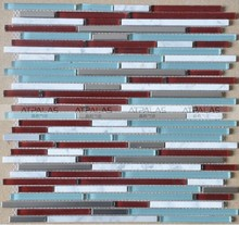 Strip glass mix stone and metal mosaic tile, Peel & Stick for easy installation