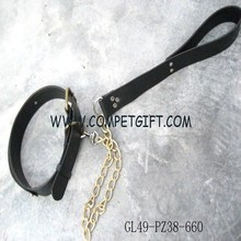 Chains Linked Black Matte PU Leather Dog Leashes and Dog Collars