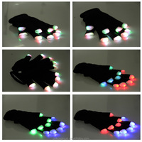 led gloves/Black Nelon LED Light up FInger Gloves /LED NELON GLOVES