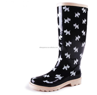 Cheap but good quality kids rain boots rubber boots with dog print boots shoes