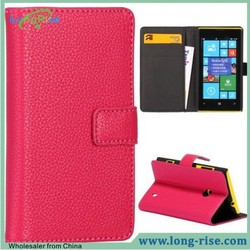 Wholesale Lichee Pattern Wallet Style Flip Leather Case Cover for Nokia Lumia 520