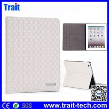 new products woven texture flip stand leather case for iPad 2 ,3,4
