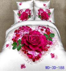 2015 best selling 3d printing pink rose bedding set and super creative china home design