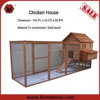 "High Quality 143.3""L x 43.3""D x 66.9""H Solid Wood Chicken Coop Hen Wood House For Chicken/ Chicken House For Sale"