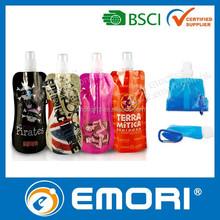 2015 hot selling customized BPA FREE / EU foodgrade Safety / LFGB / FDA foldable bottle with carabiner