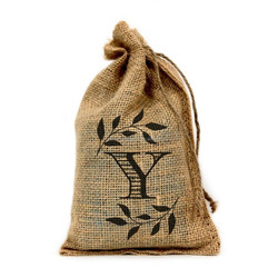 """Y Monogram, 6"""" X 10"""" drawstring linen pouch with logo with Drawstring - Set of 10"""