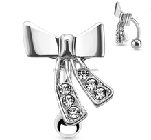 316L Surgical Steel Reverse Dangle Bow Belly Ring