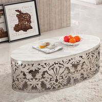 2014 hot sale natural well quality oval marble stone top dining table