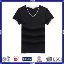 OEM custom logo various color good price and quality mens slim fit v-neck t-shirt
