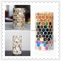 20*45cm Cylinder shape decorative handmade crackle and piece electric mosaic glass hurricane lamps