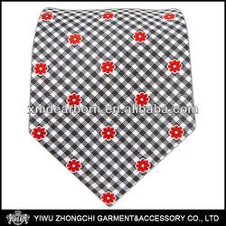 Flowers - Charcoal/Red Silk Gingham Ties