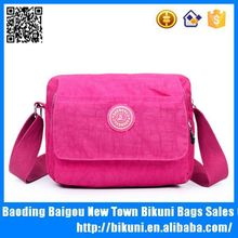 Small simple nylon washing pink messenger bag for women