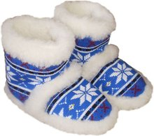 100% wool slippers, textile blue