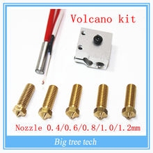 3D printer parts E3D Volcano hot end set heater block+NTC Thermistors with DuPont head +nozzle pack for 1.75/3 mm