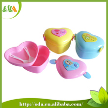 Street price heart shape good quality kids lunch box fork and spoon
