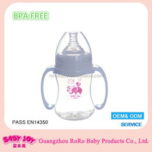 Hot sale large vacuum custom clear pp 6oz 180ml big nipple wide neck baby bottle