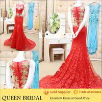 Real Sample Appliqued Crystal Beaded Red Mermaid Evening Dress 2015