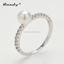 Wholesale Cooper Diamond Simple Silver With Pearl Ring