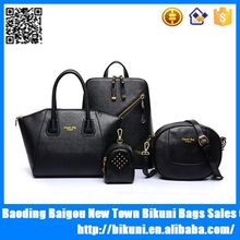 Multi-purpose simple design 4 pieces tote leather fashion women bags ladies handbags