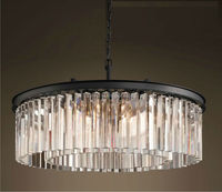 Hot-selling 2-ring round shape Glass K9 crystal Prism Chandelier
