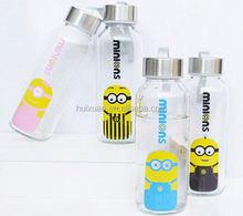 Mr Minions unbreakable glass water bottle/glass bottle water private label/mineral water bottles blue glass bottle