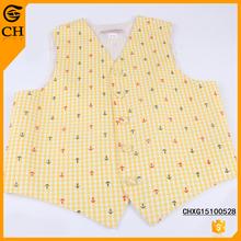 Chunhe printed yellow cotton waistcoat vest costume for kids