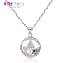 Fashion Jewelry 925 sterling silver Tree Leaves necklaces&pendants For women