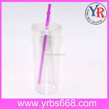Wholesale Promotion Outdoor Travel Plastic Cups With Lid And Straw