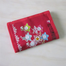 Hot sell promotional girls kids red trifold wallet purse for children gift