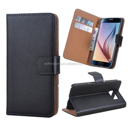 universal smart phone wallet style leather case genuine leather phone case for Samsung S6